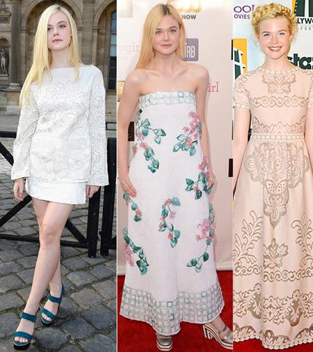 3. Elle Fanning Tất nhiên, không thể thiếu tài năng trẻ Elle Fanning trong danh sách này. Cũng như cô chị Dakota Fanning, tài năng điện ảnh của Elle tỏa sáng từ rất sớm và đưa cô đến gần công chúng hơn. Tuy vậy, cô nàng vẫn còn rất ngoan hiền ở tuổi 16 với phong cách kiểu teen năng động và nhí nhảnh. Với vóc dáng mảnh khảnh, cô em nhà Fanning rất phù hợp với những kiểu áo hoa màu sáng, mềm mại, nữ tính hay phối trang phục nhiều tầng, nhiều chất liệu.