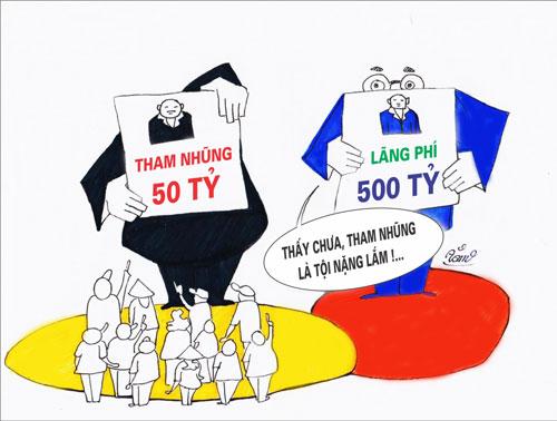 Đề tài tham nhũng và lãng phí của công trong tranh của họa sĩ Tâm.