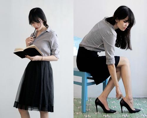 Hãy thả tự do cho cơ thể bằng một chiếc chân váy xếp ly bồng bềnh. Với cảm giác đầy sảng khoái và thư thái nhưng vẫn rất lịch sự với chiếc áo sơ mi, bạn có thể hoàn thành một ngày làm việc hiệu quả hơn.