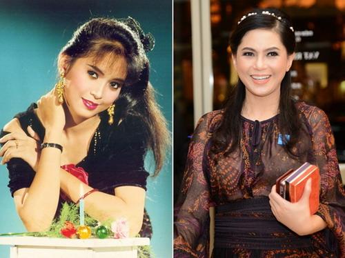 """Thủy Tiên thưở còn đóng """"Vị đắng tình yêu"""" (trái) và nay khi đã là một doanh nhân. Bà cũng chính là mẹ chồng Hà Tăng."""