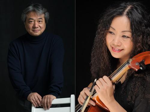Nhạc trưởng Honna Tetsuji (trái) và nghệ sĩ ưu tú cello Trần Thị Mơ.