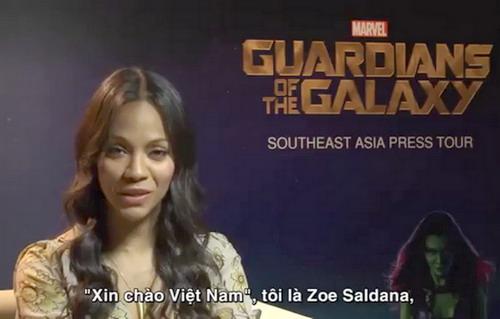Zoe Saldana tự tin nói câu chào bằng tiếng Việt dành cho các fan của Marvel ở xứ sở hình chữ S.
