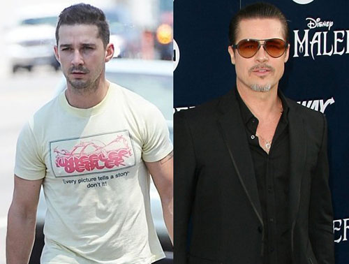 Shia LaBeouf và Brad Pitt (phải). Ảnh: