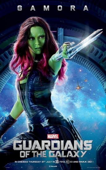Zoe Saldana vào vai nữ sát thủ da xanh Gamora.