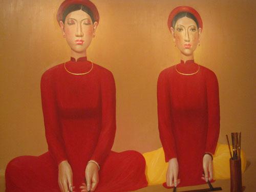 Một tác phẩm khác trong triển lãm của Nguyễn Khắc Chinh.