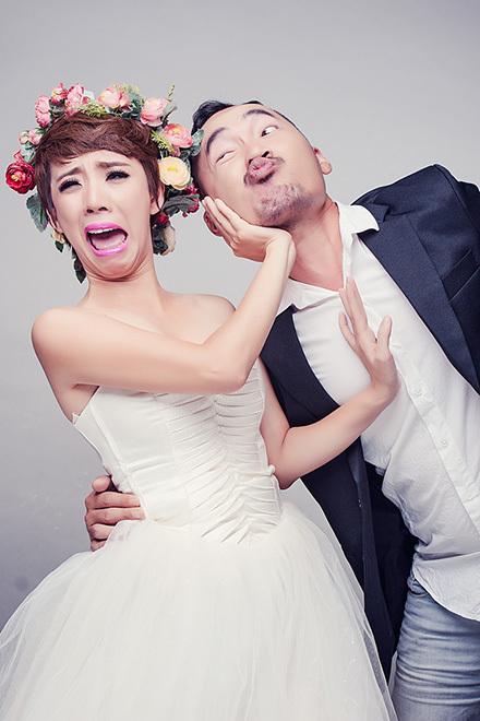 Diễn viên hài Thu Trang cùng chồng chụp ảnh cưới hài hước