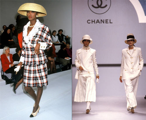 Bộ sưu tập Xuân Hè 1988. Bộ sưu tập Xuân Hè 1989 với những điểm nhấn đặc trưng của Chanel: màu trắng, mũ fedora và trang sức ngọc trai.