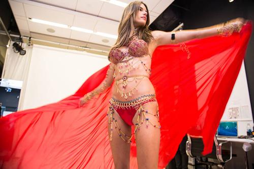 Trong show lần này, người mẫu Brazil sẽ biểu diễn ba màn. Trong đó, lần đầu, cô diện bộ Fantasy Bra để diễn cho bộ sưu tập nói về chuyến du lịch kỳ lạ. Lần hai, cô mặc một bộ đồ lót phỏng theo truyện cổ tích với hai màu hồng đào-hồng vàng cùng chiếc áo choàng đính đầy hoa thơm.