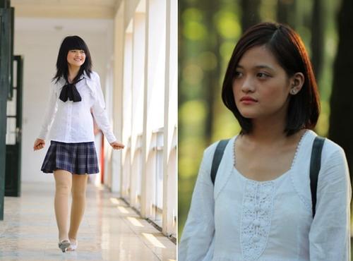 """Thùy Anh với vai Phan Linh trong """"Bộ tứ 10A8"""" (trái) hồi năm 2009 và khi trở thành Huyền của """"Đập cánh giữa không trung""""."""