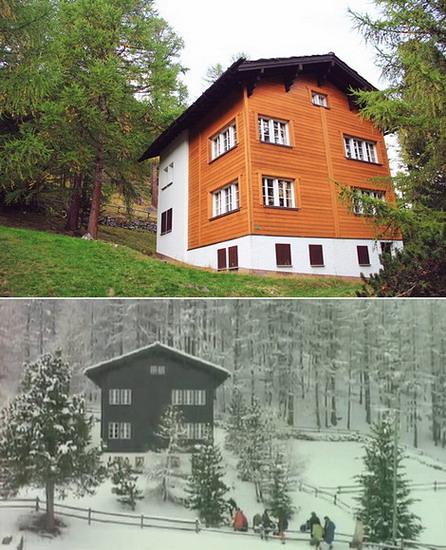 """Ngôi nhà gỗ ở Saas-Fee (Thụy Sĩ) - nơi quay MV """"Last Christmas"""" - hiện tại (ảnh trên) và năm xưa. Ảnh: Nguyên Minh, clip."""