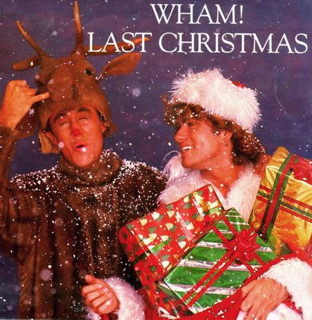 """Bìa đĩa đơn """"Last Christmas"""" của nhóm Wham!."""
