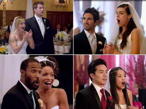 """Vẻ ngạc nhiên, hạnh phúc của các cặp cô dâu chú rể được nhóm Maroon 5 """"ghé thăm"""" trong ngày cưới."""