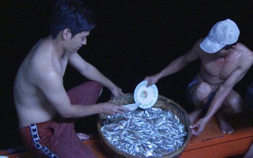 Mẻ cá đánh bắt được khiến ba nghệ sĩ rất háo hức.