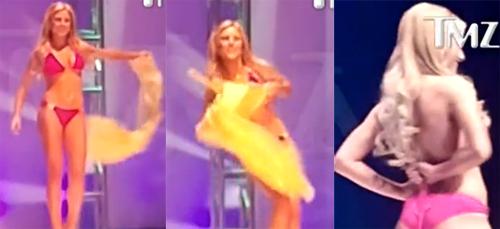 Thí sinh Miss California USA được khen nhanh trí khi lộ ngực