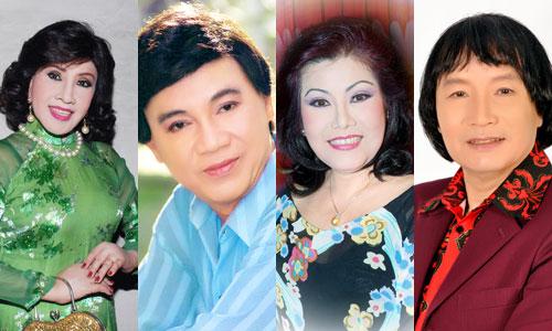 Từ trái qua: Lệ Thủy, Thanh Sang, Phượng Liên và Minh Vương hội ngộ trên sân khấu cải lương. Khán giả có thể mua vé xem chương trình từ ngày 3/1 tại Nhà hát Bến Thành.