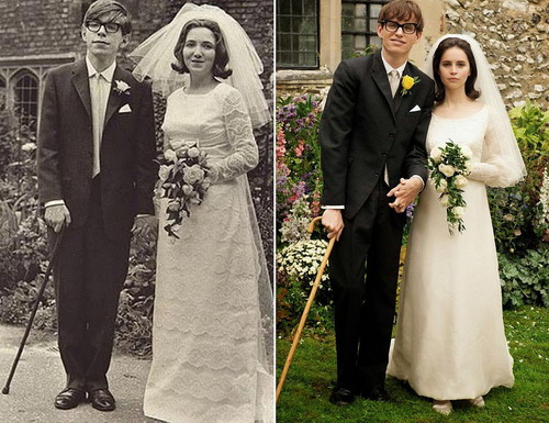Stephen Hawking và người vợ đầu tên Jane ở ngoài đời (ảnh trái) và trên phim do Eddie Redmayne và Felicity Jones thủ vai.