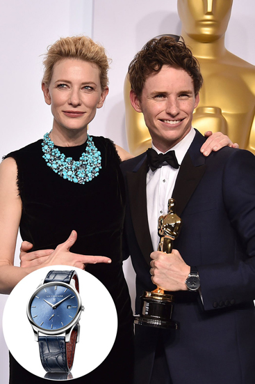 The Best Actor winner for The Theory of Everything accessorized his Alexander McQueen navy tuxedo with Chopard's self-winding 39.5mm L.U.C XPS Poincon de Geneve watch in platinum with a blue dial and black leather band. $25,650, 1-800-CHOPARD and at Chopard boutiques.