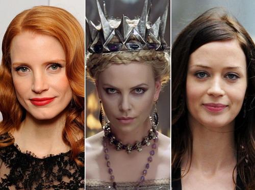 """Ba minh tinh sẽ xuất hiện trong """"The Huntsman"""" (từ trái sang): Jessica Chastain, Charlize Theron và Emily Blunt."""
