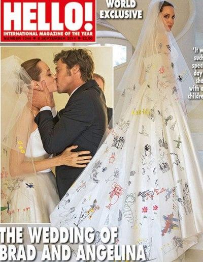 Chiếc áo cưới của Angelina Jolie được nhắc đến như một ý tưởng vô cùng độc đáo và ý nghĩa cho ngày trọng đại của gia đình Angelina Jolie và Brad Pitt. Chiếc váy cưới thuộc hãng Versace nhưng được trang trí bởi những hình vẽ và dòng chữ nguệch ngoạc viết bằng tay của 6 đứa con đôi vợ chồng. Những bức tranh mô tả phần nào cuộc sống của Angelina Jolie và Brad Pitt trong quá khứ, những bộ phim họ từng đóng cũng như cuộc sống đầy ắp tình thương mà họ dành cho nhau ở hiện tại. Chú rể Brad Pitt không biết gì về chiếc váy cưới cho tới khi hai người tổ chức hôn lễ trong nhà thờ. Nam diễn viên 50 tuổi dường như kinh ngạc xen lẫn tự hào khi thấy vợ xuất hiện và tới gần.