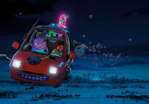 Hình ảnh chiếc xe bay trong phim.