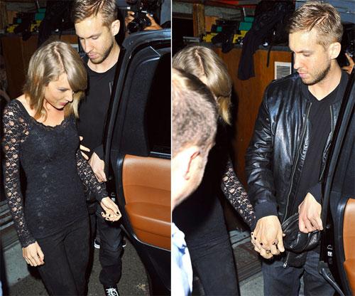 Taylor Swift và Calvin Harris nắm tay nhau khi rời đêm nhạc.