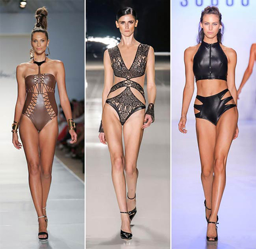 Leather swimwear styles are the next on our list of exceptional and innovative swim designs for summer 2015, ready to make jaws drop and hearts beat faster. Looking so edgy, dramatic and unconventional, leather swimwear designs might ask a perfect body and a big confidence from one to sport them. While Adriana Degreas tried to show the fragile and sophisticated side of leather swimwear by applying lots of laser cuts to it, Dolores Cortes and Suboo opted for multi straps and sexy lacing to add power to their designs. Creative enough, huh?