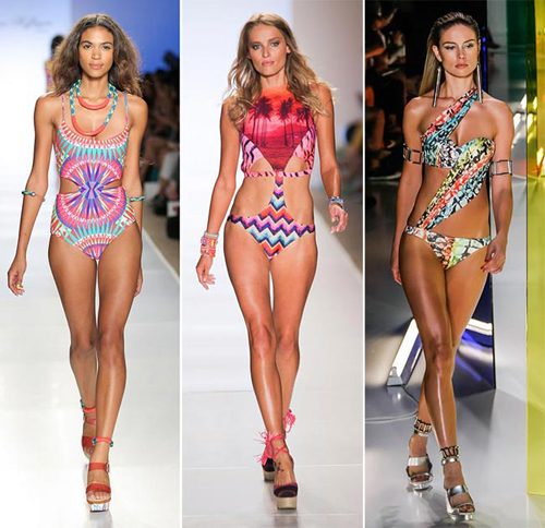 While many designers played with unconventional materials, shapes and patterns to make their swimwear creations unique and outworldly, many others went for creative slits and cut-outs boosting the drama and seductiveness of their designs. Whether its about a traditional one-piece or bikini sets, we saw lots of cut-away styles at these swim fashion shows, like in case of the new beach lines of Mara Hoffman, Agua de Coco, Cia Maritima, Movimento and others. Some other designers also used extra straps for their bikini bottoms, presenting some quirky designs and sexy strappy bottoms for those trying to look more seductive on the beach.