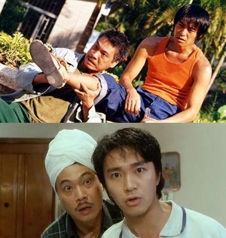 Ngô Mạnh Đạt (bên trái) và Châu Tinh Trì từng làm nên nhiều thước phim hài hước trong các tác phẩm ăn khách.