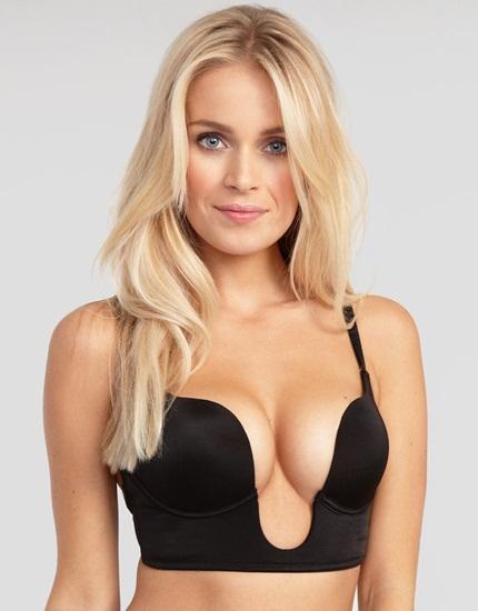 8. Áo ngực xẻ sâu Áo ngực xẻ sâu, hay còn gọi là U-bra bởi hình dáng đặc trưng của nó, là lựa chọn tuyệt vời dành riêng cho những bộ trang phục khoét sâu kiểu cổ chữ V để khoe khe ngực gợi cảm. Hai bên được nối với nhau chỉ bằng phần gọng nhỏ vừa đủ chắc chắn.