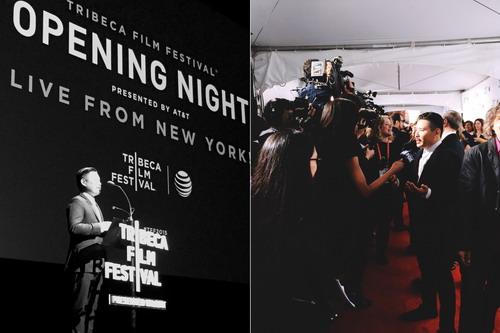 Đạo diễn Bảo Nguyễn phát biểu trong đêm khai mạc LHP Tribeca (trái) và trả lời báo giới Mỹ trên thảm đỏ.