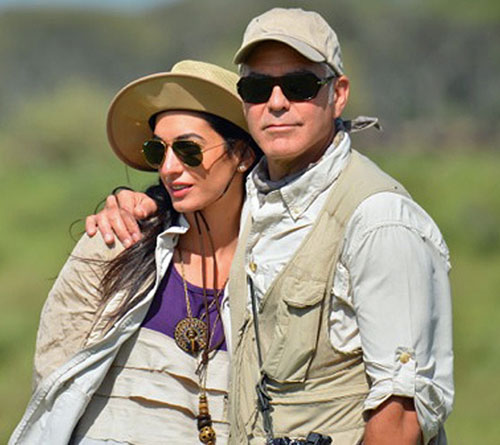 George Clooney và Amal.
