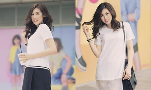 Dương Tú Anh dạo phố Sài Gòn với váy áo tối giản