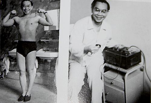 Ảnh trái: Giáo sư Trần Văn Khê thời trẻ khi ông tập thể dục trong bệnh viện dưỡng lao.
