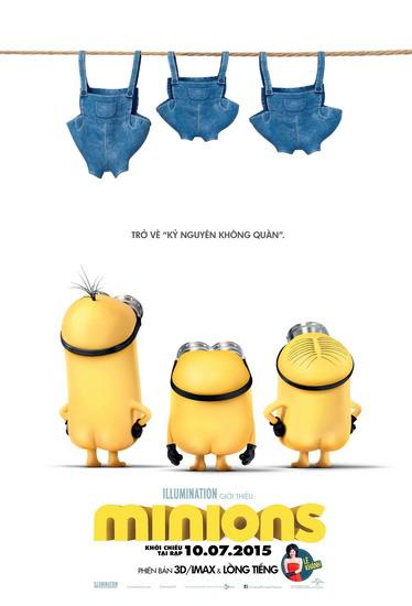 """Poster của """"Minions"""" với lời dẫn dắt: """"Trở về kỷ nguyên không quần""""."""