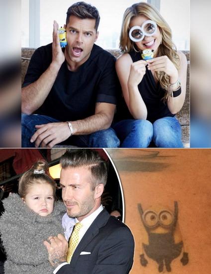 Ricky Martin và Thalia (ảnh trên) khoe hình chụp với đồ chơi Minion trong khi David Beckham xăm hình nhân vật này theo yêu cầu của con gái Harper.