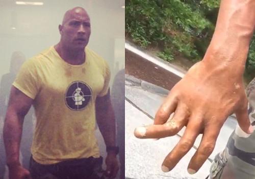 Dwayne Johnson khoe ngón tay giả bị gãy trên trường quay