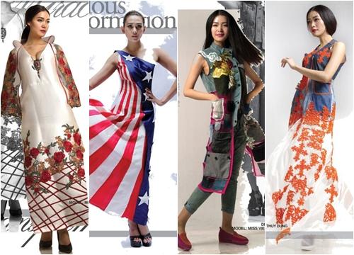 Từ trái sang: mẫu thiết kế của Lan Hương, Chu La, Quang Nhật và Minh Hạnh sẽ được trình diễn trong Ngày văn hóa Việt Nam tại Mỹ.