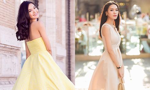Hoa hậu Thùy Dung diện váy pastel trên đường phố Italy