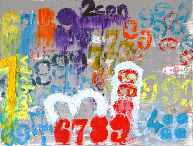 Vé số, dép nhựa làm chất liệu cho tranh sơn dầu