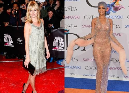 Kate Moss (trái) và Rihanna đều gây ấn tượng bằng những bộ váy pha lê.