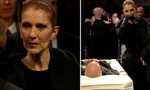 Celine Dion khóc bên linh cữu chồng