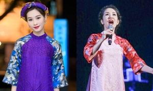 Mỹ nhân Việt đua sắc với áo dài gấm cách điệu