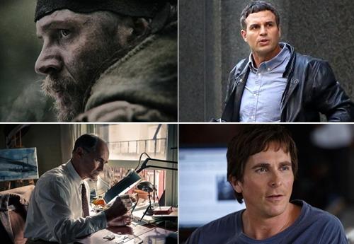 Bốn ứng viên còn lại ở hạng mục nam phụ (từ trái sang, từ trên xuống) - Tom Hardy, Mark Ruffalo, Mark Rylance và Christian Bale.