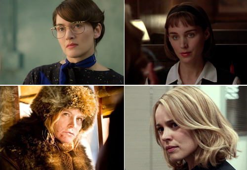 The four remaining candidates in the category of female parts (from left to right, from top to bottom) - Kate Winslet, Rooney Mara, Jennifer Jason Leigh and Rachel McAdams.