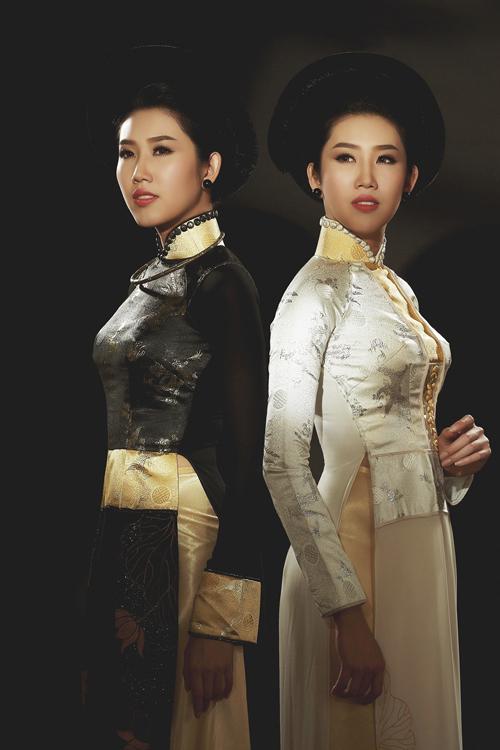Lê Huỳnh Thúy Ngân diện áo dài 'Đa sắc'
