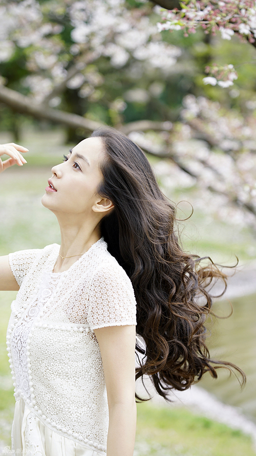 Angelababy ngọt ngào giữa rừng hoa anh đào
