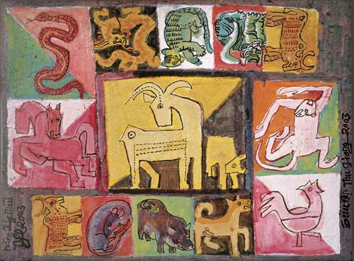 NGUYỄN TƯ NGHIÊM - Năm Quý Mùi 2003. Bột màu trên giấy (Sưu tập Thu Giang)