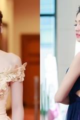 Á hậu Tú Anh thay váy chạy show ngày bão