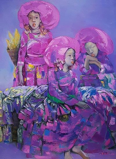 Tranh Sơn nữ của họa sĩ Đào Xuân Tình có giá khởi điểm 1.500 USD, sáng tác năm 2016, chất liệu sơn dầu.