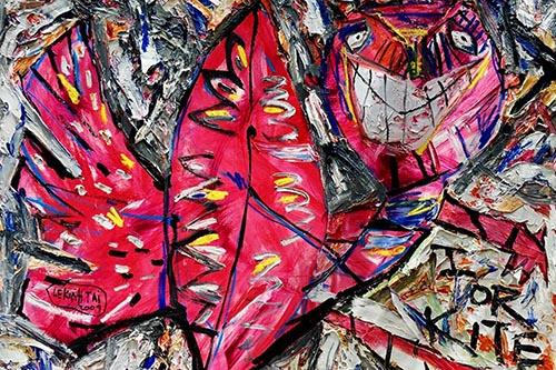Bức Tôi - chiều gió của họa sĩ Lê Kinh Tài có giá khởi điểm 60.000 USD, sáng tác năm 2010. Bức tranh được tác giả lý giảiI